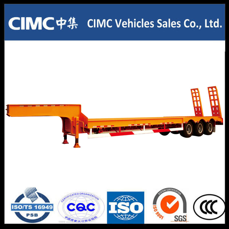 Cimc 3 Axle 70ton Low Bed Semi Trailer s hydraulickou rampou